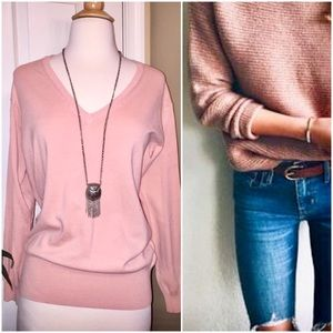🆕 ZARA KNIT V-Neck Sweater Blush Top Rose Pink S